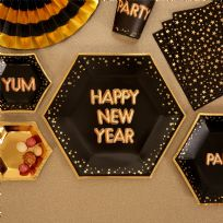 Glitz & Glamour Black & Gold Happy New Year Plates (8)